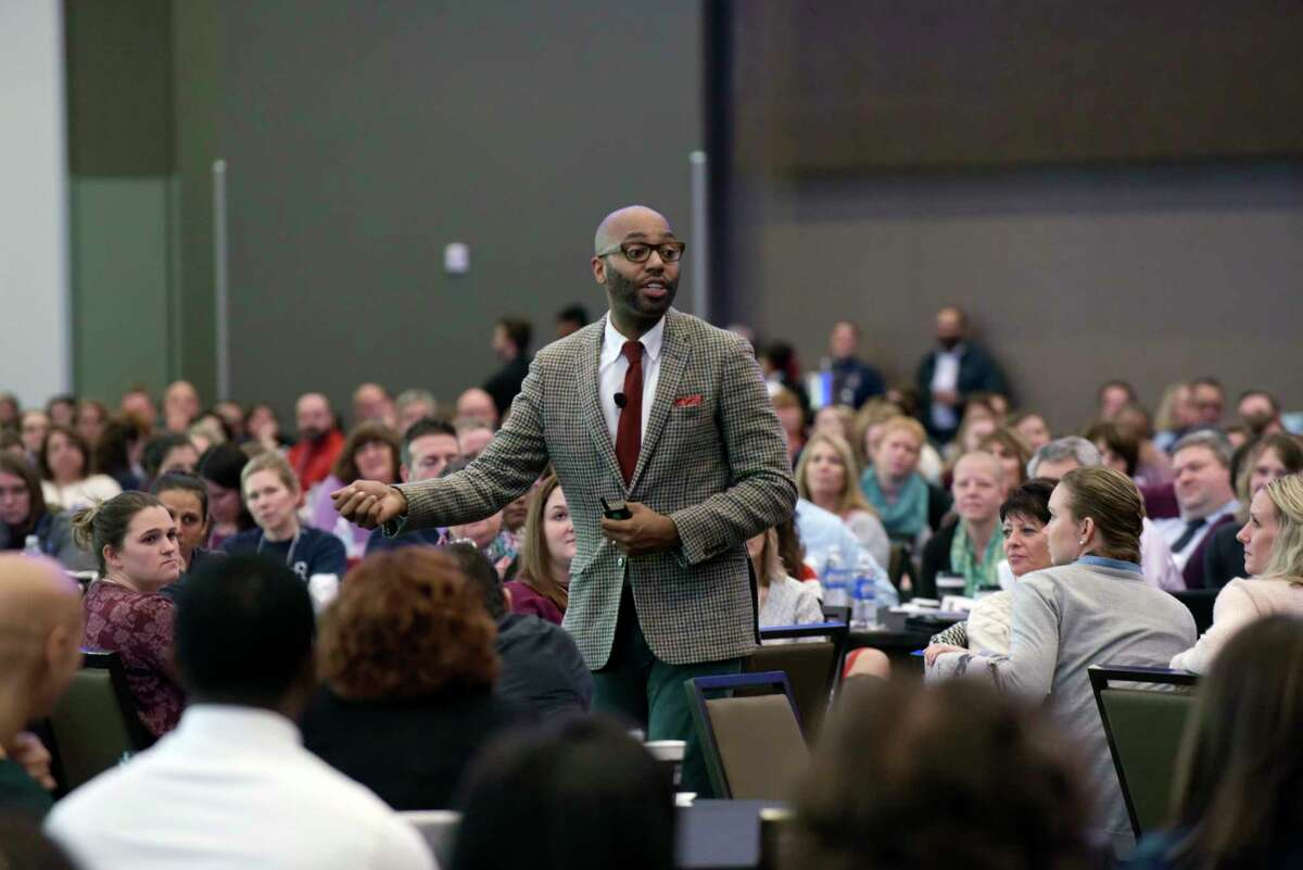 Christopher Emdin delivers the keynote address at the local Urban Schools Conference on Tuesday, Nov. 7, 2017, in Albany, N.Y. Schenectady City School District and Capital Region BOCES teamed up to offer the first-ever local Urban Schools Conference at the Albany Capital Center. (Paul Buckowski / Times Union)