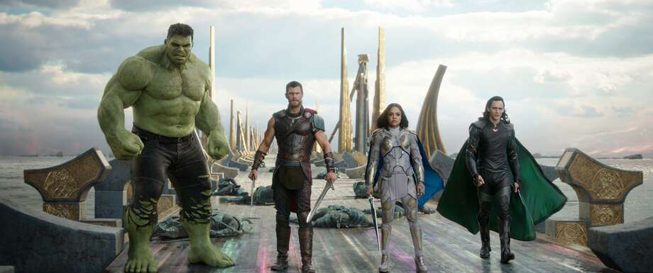 "This image released by Marvel Studios shows the Hulk, from left, Chris Hemsworth as Thor, Tessa Thompson as Valkyrie and Tom Hiddleston as Loki in a scene from, ""Thor: Ragnarok."" Photo: Null / Associated Press / null"