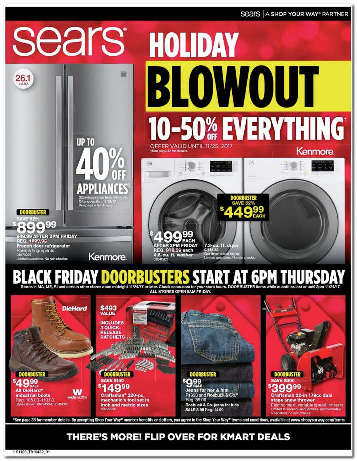 Sears has released its 2017 Black Friday Doorbuster ad. Prices and promotion begin on Thursday, Nov. 23 at 6 p.m. and are subject to change and availability, based on the retailer's determination. Photo: Sears, BestBlackFriday.com