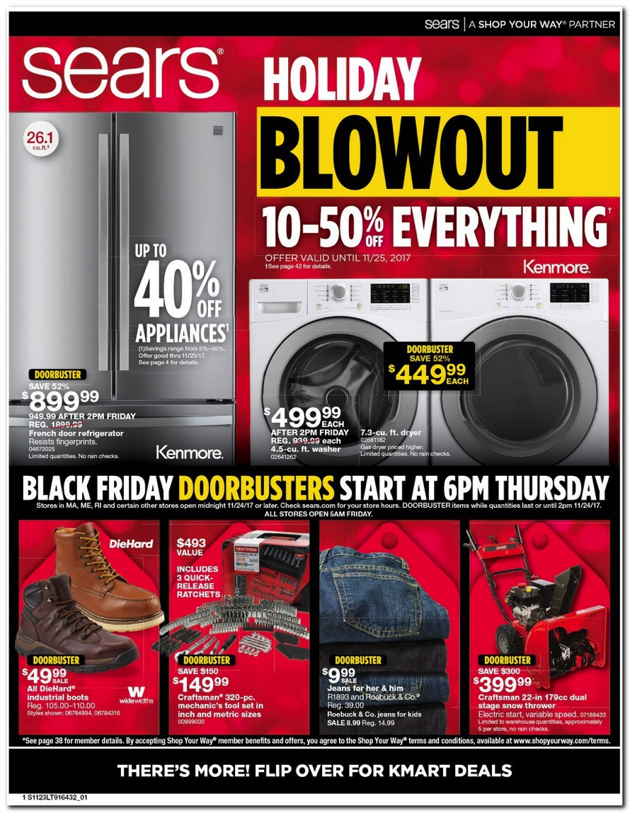 Sears Releases Their 2017 Black Friday Doorbuster Ad See All 43 Pages