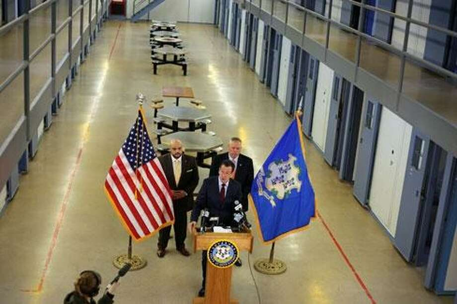 Gov. Malloy last December announcing the closure of a housing unit at Osborn Correctional Institution in Somers Photo: CTNewsJunkie File Photo / CTNewsJunkie File Photo