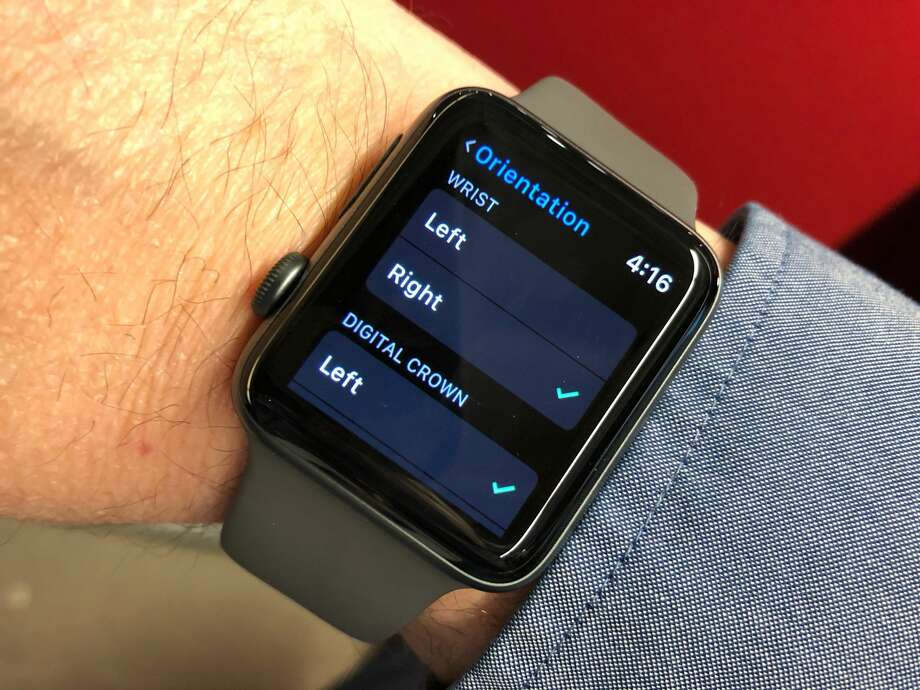 The Apple Watch lets you indicate on which wrist you wear a watch, and where the crown should be on the wrist. Photo: Dwight Silverman / Houston Chronicle