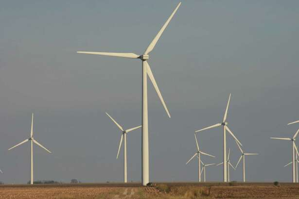 Turbines on a wind farm generate electricity in Ford County in northeastern Illinois.