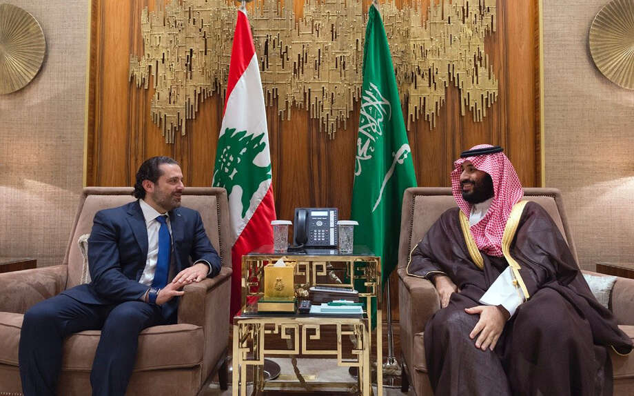 FILE - In this Monday, Oct. 30, 2017 file photo, released by Lebanon's official government photographer Dalati Nohra, Saudi Crown Prince Mohammed bin Salman, right, meets with Lebanese Prime Minister Saad Hariri in Riyadh, Saudi Arabia. The abrupt resignation of Hariri was bizarre even by the often twisted standards of Lebanese politics: Saad Hariri made the announcement from the Saudi capital in a pre-recorded message on a Saudi-owned station. (Dalati Nohra via AP, File) Photo: Uncredited, HOGP / Dalati Nohra Lebanese Official Government Photographer