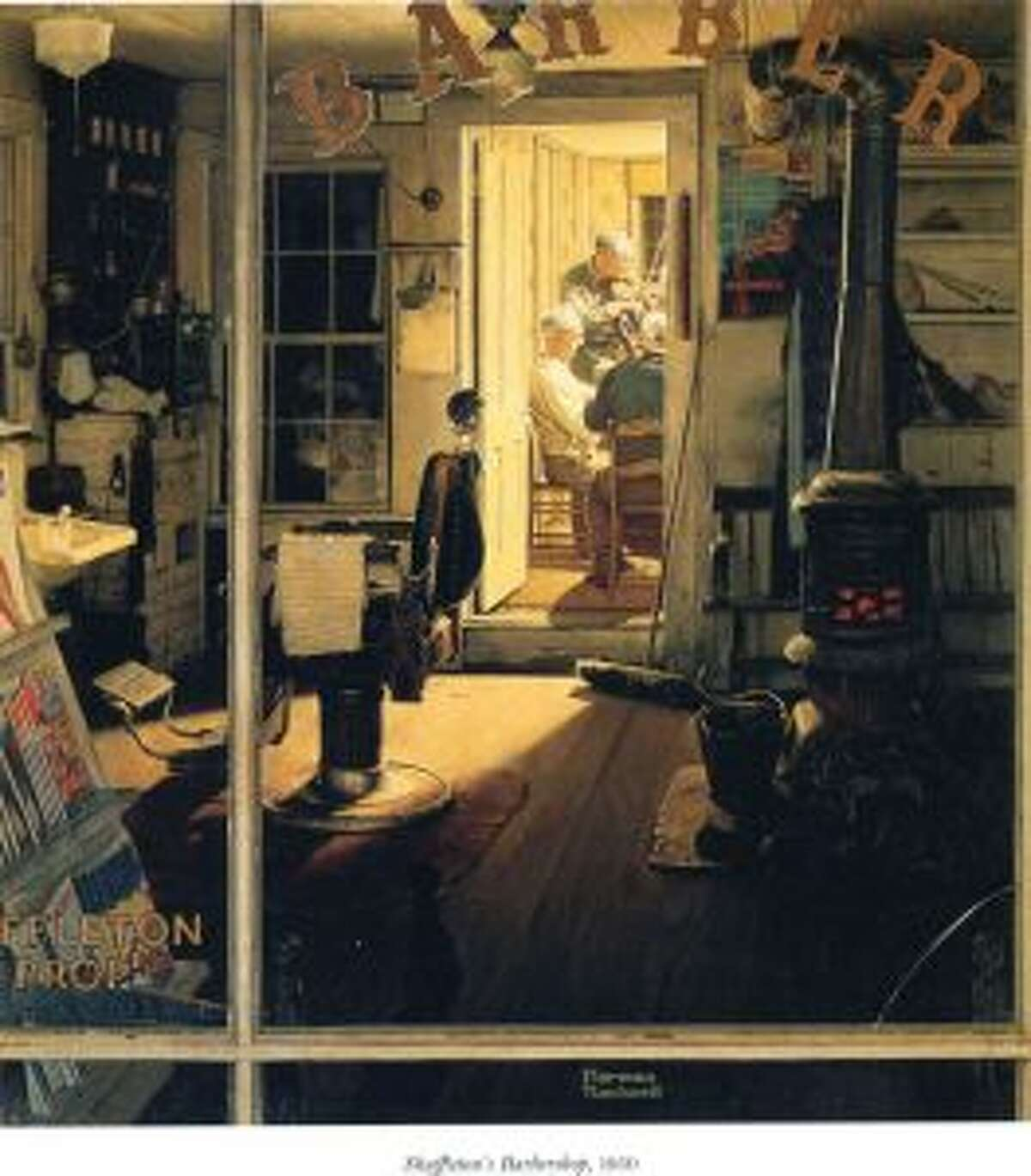 """""""Shuffleton's Barbershop"""" was a Norman Rockwell illustration for the cover of The Saturday Evening Post in 1950. The original painting is among those listed to be auctioned to raise money for the Berkshire Museum."""