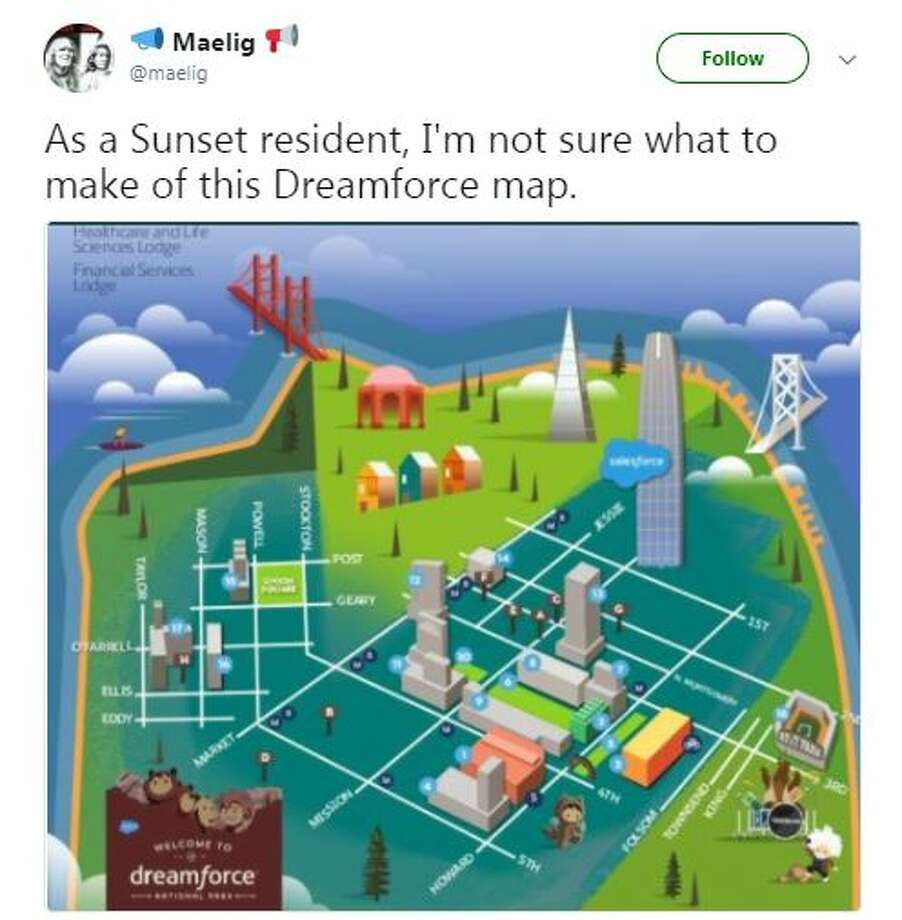 Twitter users had some things to say about this Dreamforce map of San Francisco.  Photo: @melig/Twitter