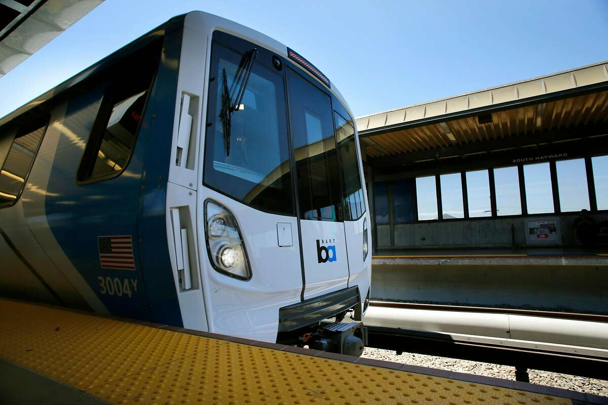 BART shows off one of their new train cars during a demonstration run at the South Hayward station, Ca., as seen on Mon. July 23, 2017.