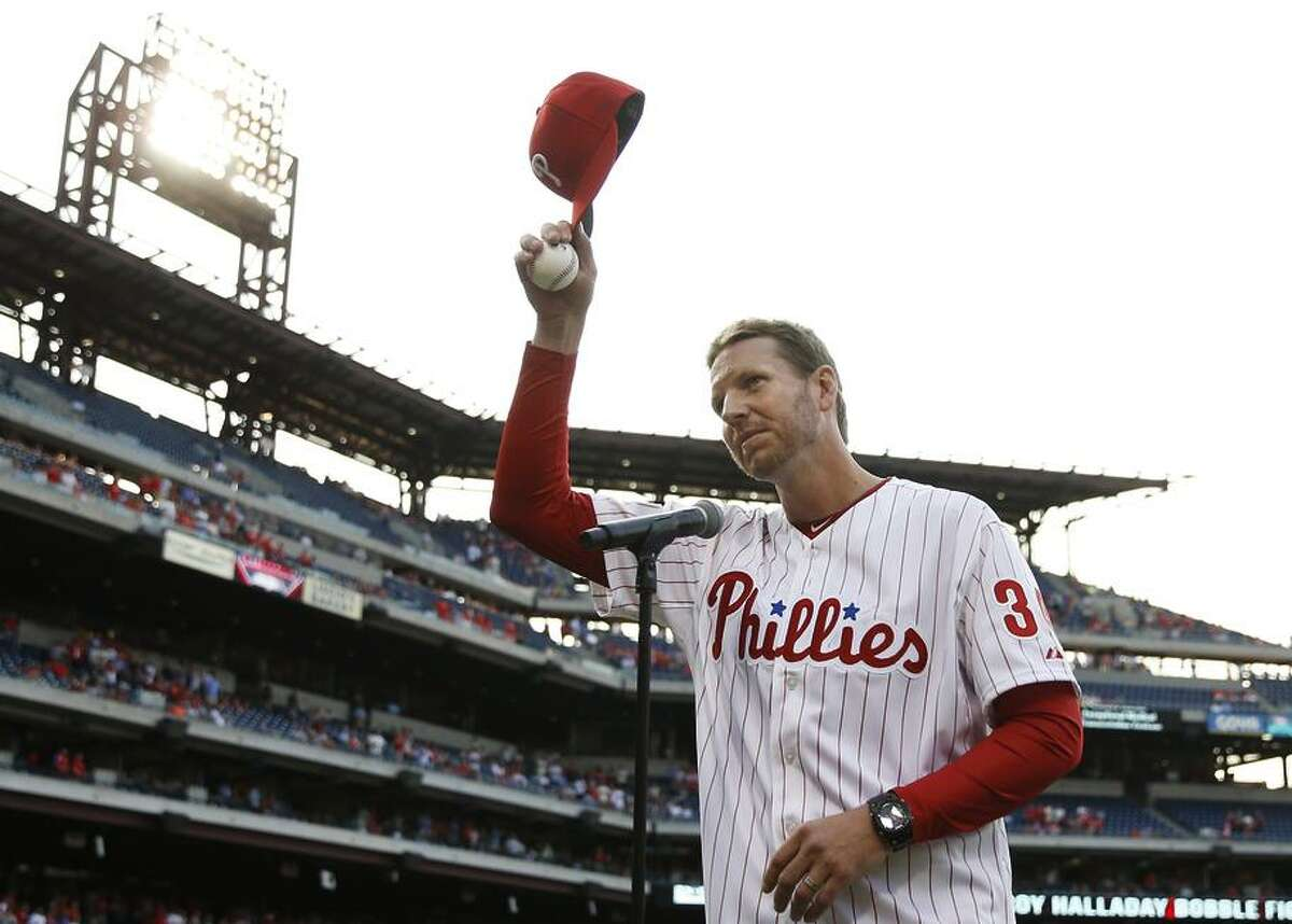 Roy Halladay acknowledged the Philadelphia crowd in 2014. The right-handed pitcher retired after the 2013 season.