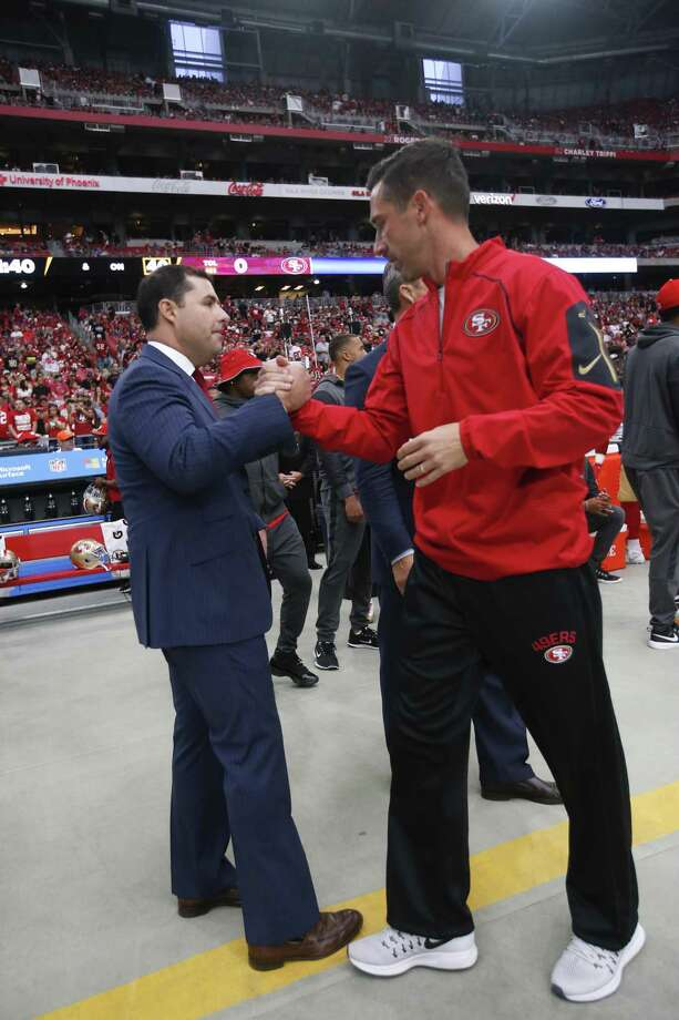 PHOENIX, AZ - OCTOBER 1: CEO Jed York and Head Coach Kyle Shanahan of the San Francisco 49ers talk on the sideline prior to the game against the Arizona Cardinals at the University of Phoenix Stadium on October 1, 2017 in Phoenix, Arizona. The Cardinals defeated the 49ers 18-15. (Photo by Michael Zagaris/San Francisco 49ers/Getty Images) Photo: Michael Zagaris / Getty Images / 2017 Michael Zagaris