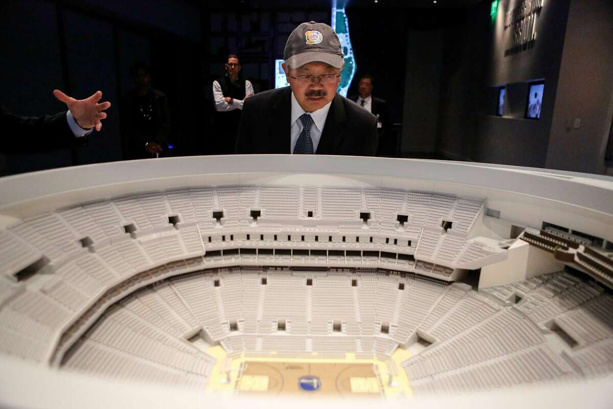 Mayor Ed Lee looks at the arena model during a sneak peak tour of the new arena at the Chase Center on Wednesday, November 7, 2017 in San Francisco, Calif.
