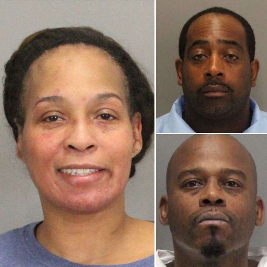 Marquita Kirk, 44, (left) was arrested on suspicion of helping two inmates, Tramel McClough, 46, (top right) and John Bivins, 47, escape from the Santa Clara County Superior Court in Palo Alto on Monday, Nov. 6, 2017.