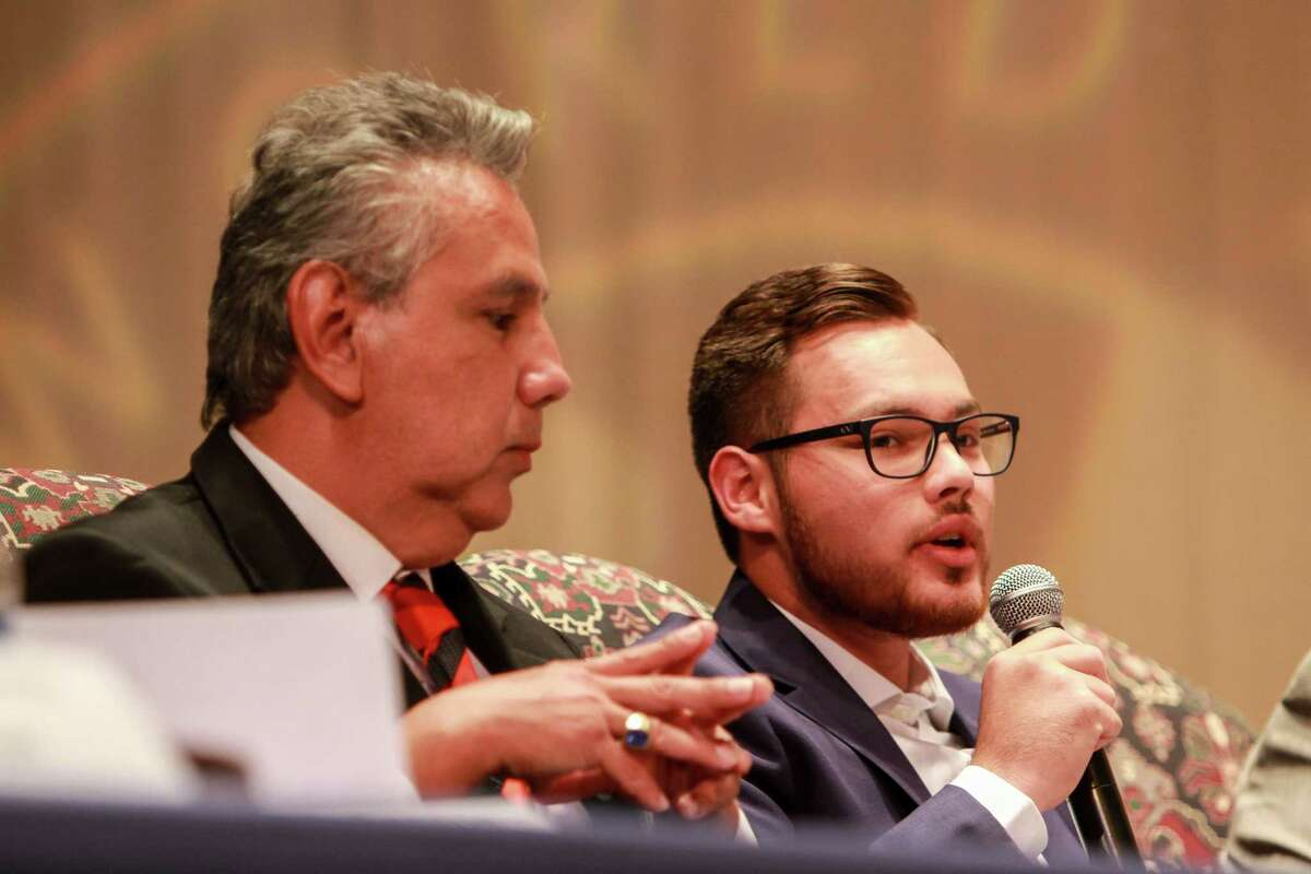 Carlos Perrett, right, is a candidate for the HISD Board of Education seat III. (For the Chronicle/Gary Fountain, October 16, 2017)