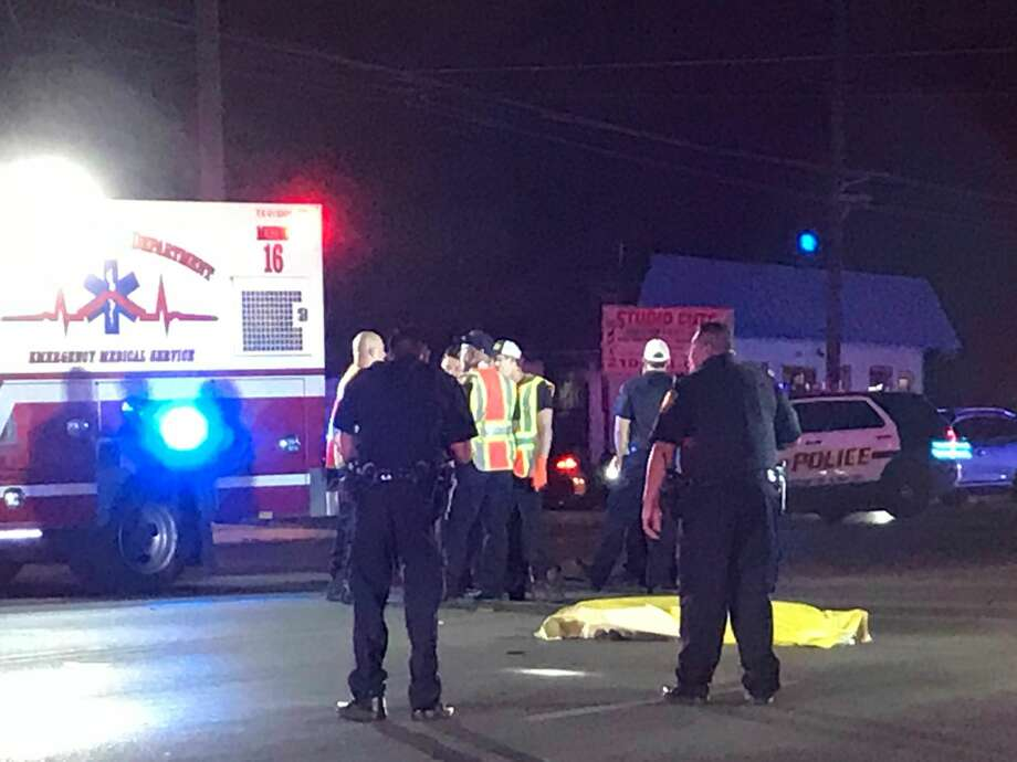 A man possibly in his 70s was fatally struck as he crossed the 6600 block of Zarzamora Street 9 p.m. Tuesday, Nov. 7, 2017. Photo: Jacob Beltran