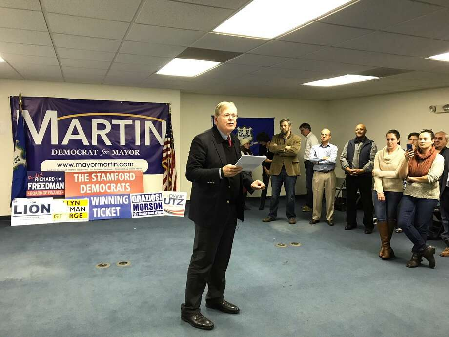 Democrat David Martin delivers his victory speech after winning a second term as Stamford's mayor on Tuesday. Photo: Michael Cummo / Hearst Connecticut Media
