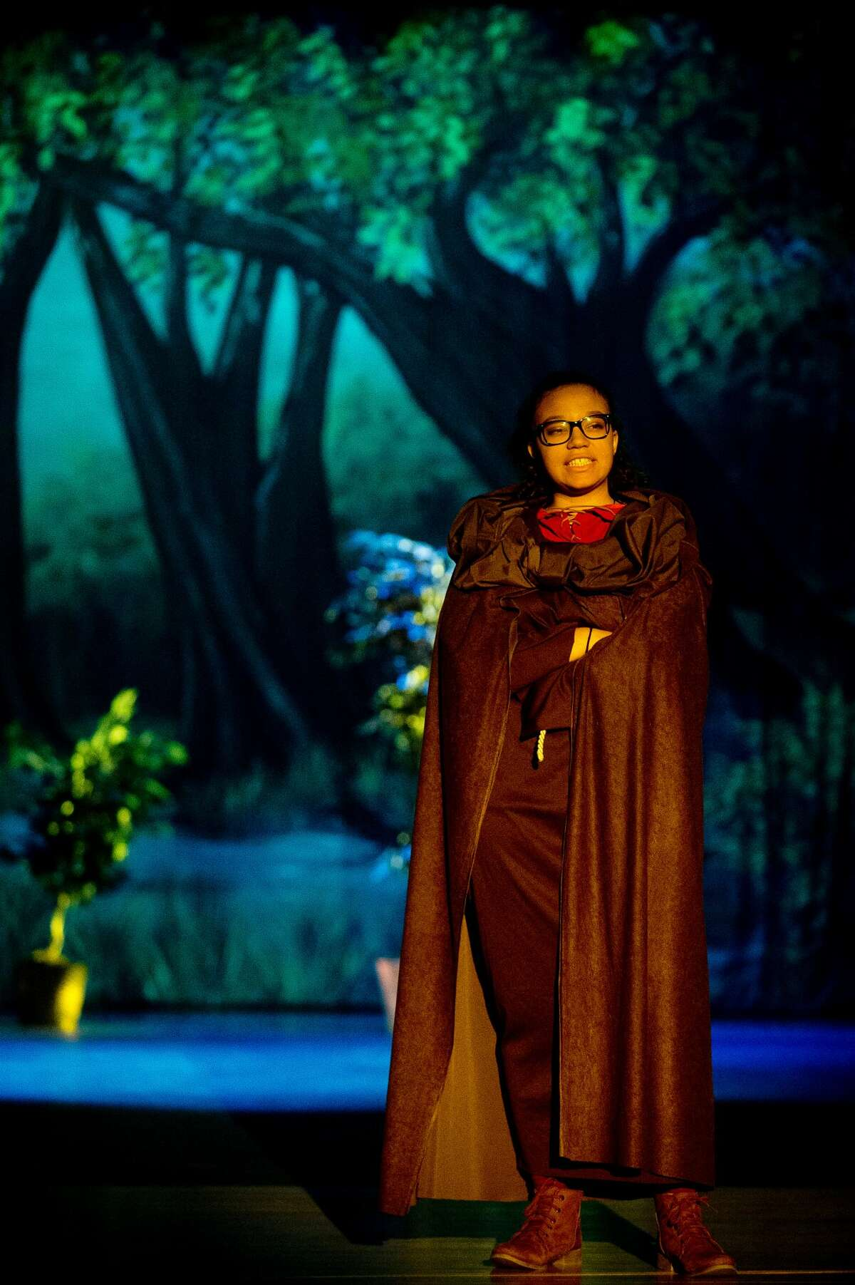Lila Granroth, playing the role of Friar Tuck, acts out a scene during a dress rehearsal on Monday, Nov. 6, 2017 for Bullock Creek High School's production of Robin Hood at Bullock Creek High School. (Katy Kildee/kkildee@mdn.net)