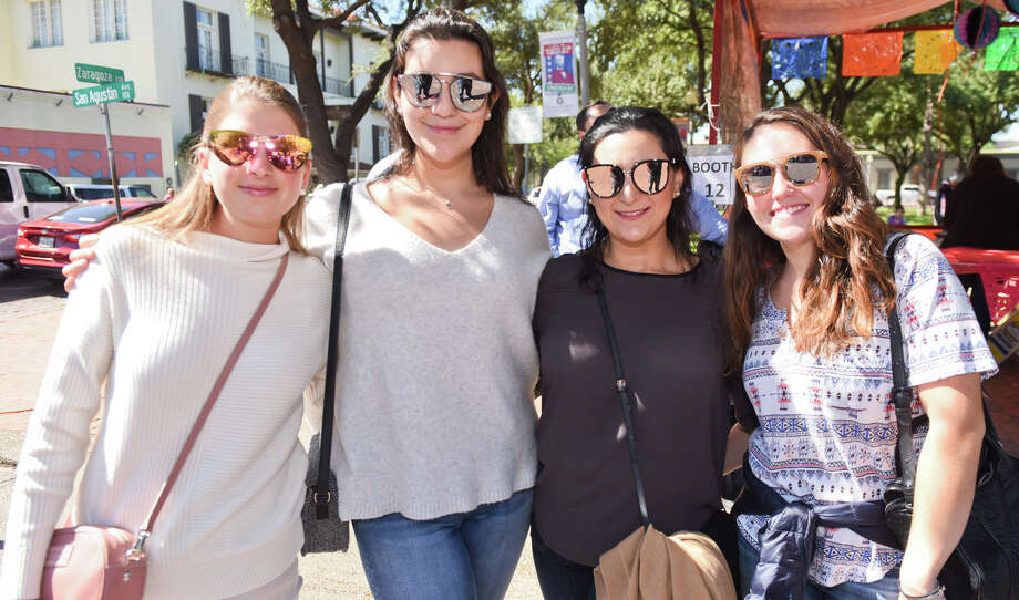 Ana Sofia Benavides, Nancy Ramirez, Nelly Ramirez and Camila Cristobal at the San Agustin Jamaica outside of San Agustin Cathedral. Photo: Danny Zaragoza