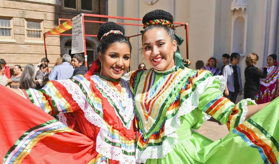 Ashley Arellano and Miranda Martinez at the San Agustin Jamaica outside of San Agustin Cathedral. Photo: Danny Zaragoza