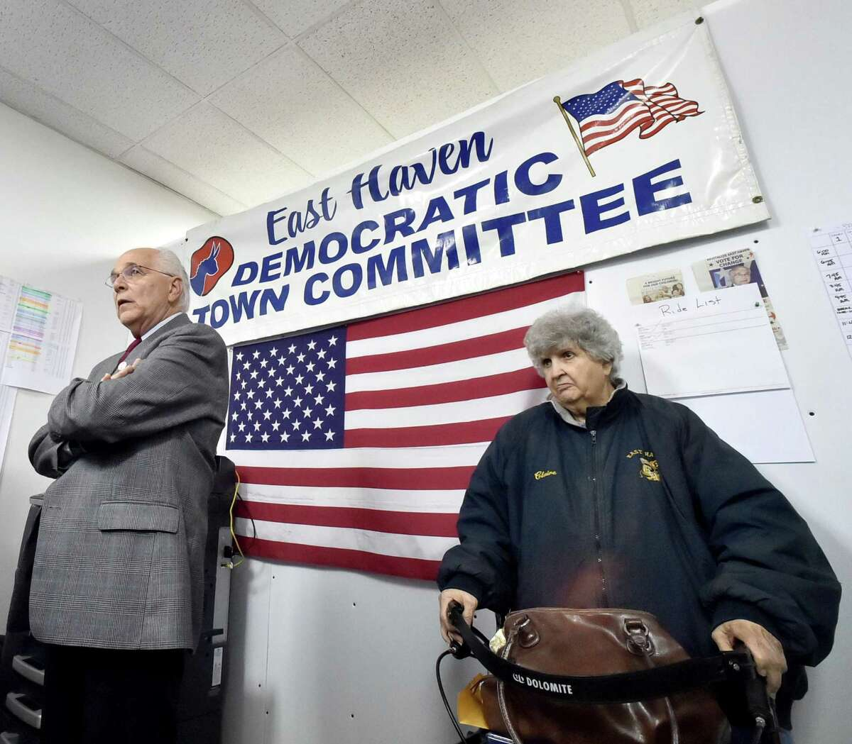 East Haven Democratic mayoral candidate Sal Maltese and Clara DiMartino, right, a campaign worker at the Main Street campaign headquarters on election night.