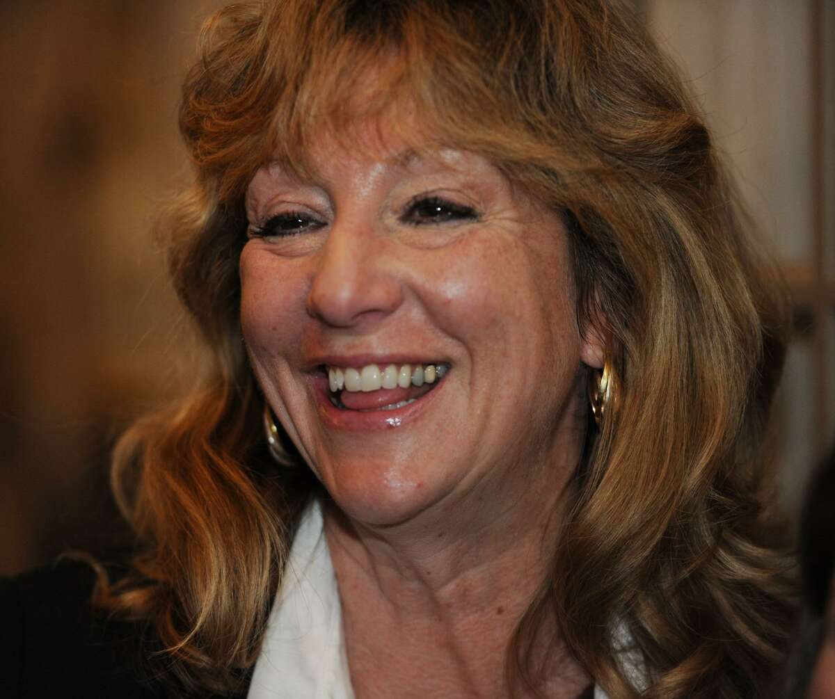 Newly-elected Stratford Mayor Laura Hoydick is all smiles at her victory party at the Riverview Bistro restaurant in Stratford, Conn. on Tuesday, November 7, 2017.