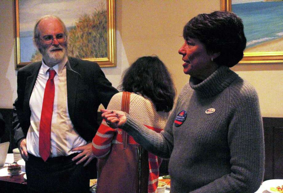 First-time Democratic candidate Deborah Low was the top vote-getter in Wilton's Board of Education race Tuesday, Nov. 7, 2017. Photo: Stephanie Kim / Hearst Connecticut Media