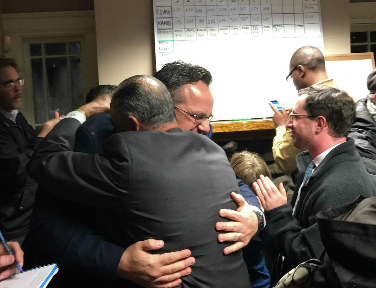 Hamden Mayor Curt B. Leng was re-elected to a second term in landslide election Nov. 3 2017.