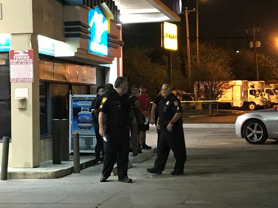 Two people were found shot in their vehicle about 9 p.m., Tuesday, Nov. 7, 2017, at a gas station near Commerce and East Houston streets. The couple told police they were shot in the 3100 block of East Commerce Street. Photo: Jacob Beltran