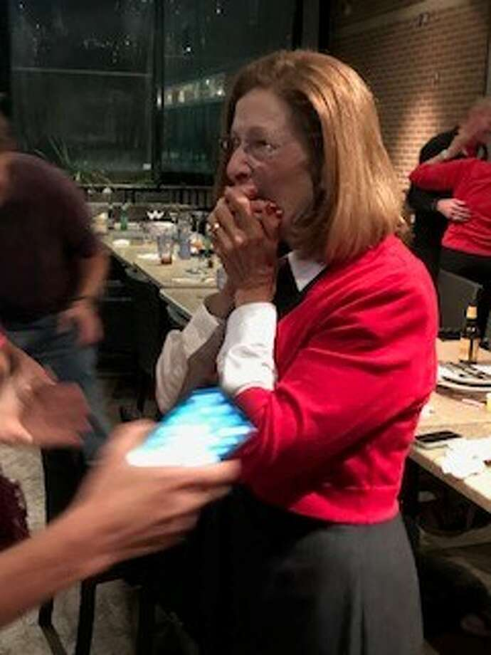 Carol Stromatt celebrates her win in The Woodlands Township Board of Directors Position 7 election, over incumbent Laura Fillault, on Tuesday, Nov. 7, 2017. Photo: Russell Ledbetter