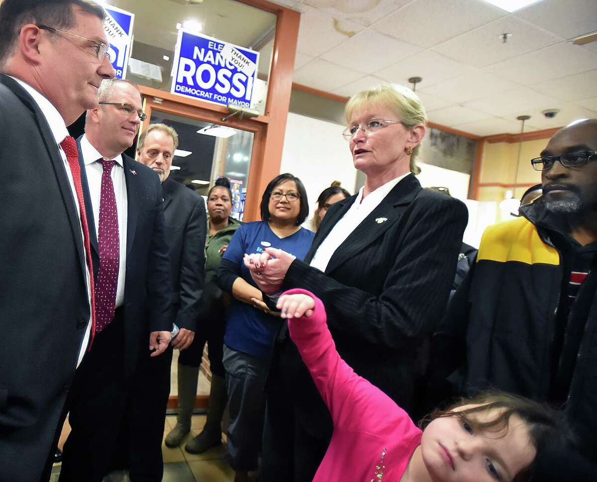 Democrat Mayor Ed O'Brien, a write-in candidate concedes to Democrat Nancy Rossi in the mayoral race in West Haven on Election Day, Tuesday, Nov. 7, 2017, at her headquarters at 232 Captain Thomas Blvd.