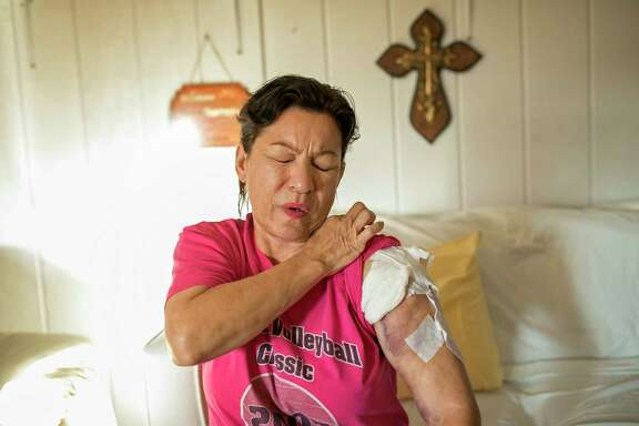 Rosanne Solis was shot twice as she huddled in fear under a pew during the church shooting.