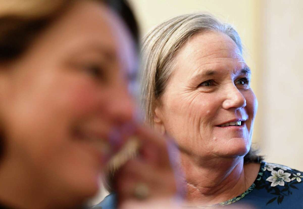 Saratoga Mayor Joanne Yepsen, left, and Democratic mayoral candidate Meg Kelly, right, chat with fellow Democrats at an election night gathering on Tuesday, Nov. 7, 2017, in Saratoga Springs, N.Y. (Will Waldron/Times Union)