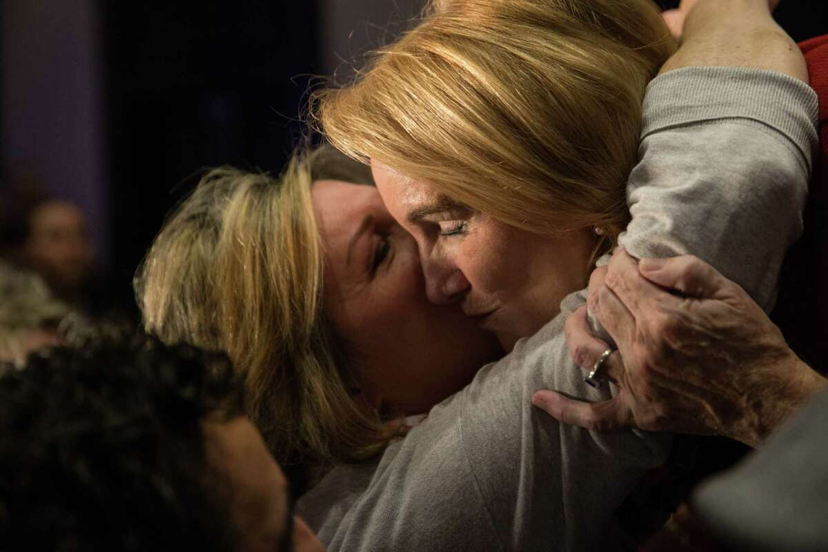 Mayoral candidate Jenny Durkan hugs friends, family, and other supporters after learning she would become the first woman to serve as Seattle Mayor in 91 years.