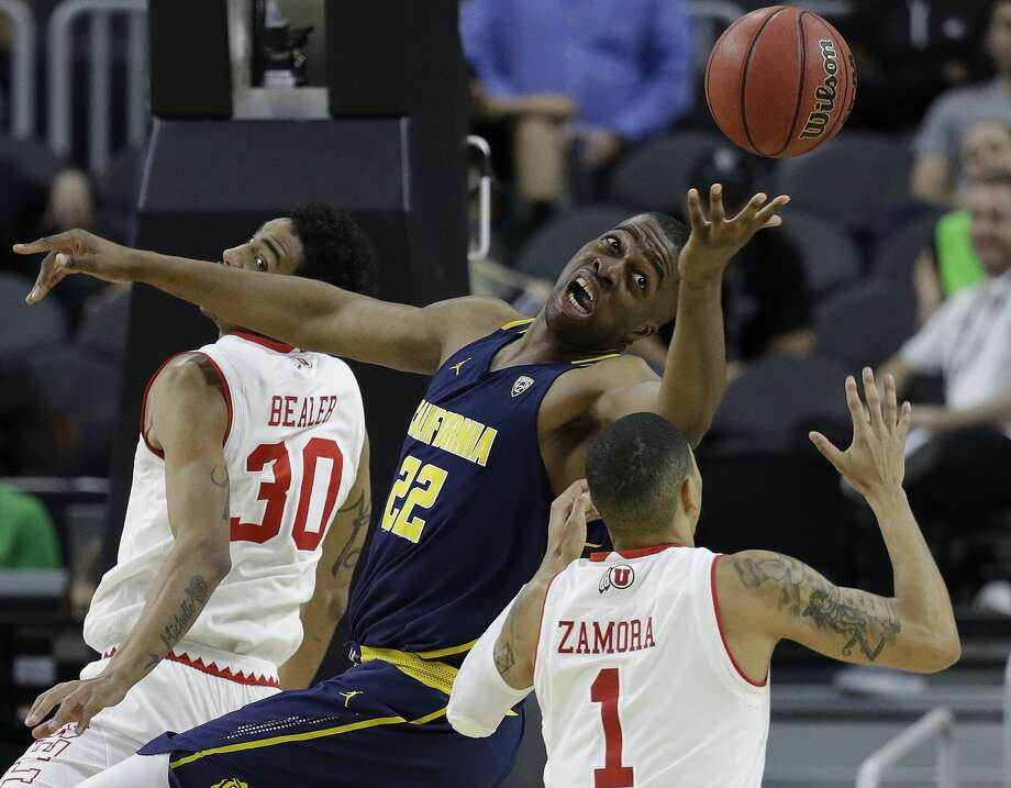 FILE - In this March 9, 2017, file photo, California's Kingsley Okoroh (22) battles for a rebound with Utah's JoJo Zamora (1) during the first half of an NCAA college basketball game in the quarterfinals of the Pac-12 men's tournament in Las Vegas. Coach Wyking Jones faces a daunting task in his first season coaching California guiding an inexperienced roster that lost its star power. Only one starter returns, center Kingsley Okoroh. (AP Photo/John Locher, File) Photo: John Locher, Associated Press