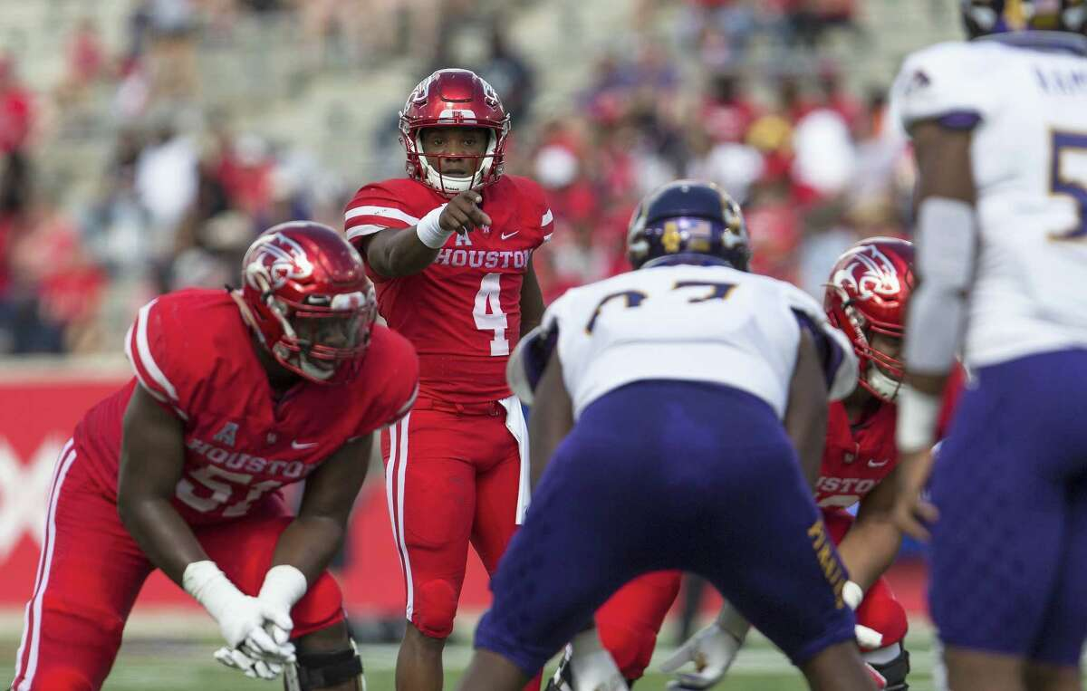 HOUSTON, TX - NOVEMBER 04: D'Eriq King #4 of the Houston Cougars points at the line of scrimmage in the first quarter against the East Carolina Pirates at TDECU Stadium on November 4, 2017 in Houston, Texas. Click through the photos for a look at how the AAC stacks up, as voted upon by a league-wide panel of beat reporters.