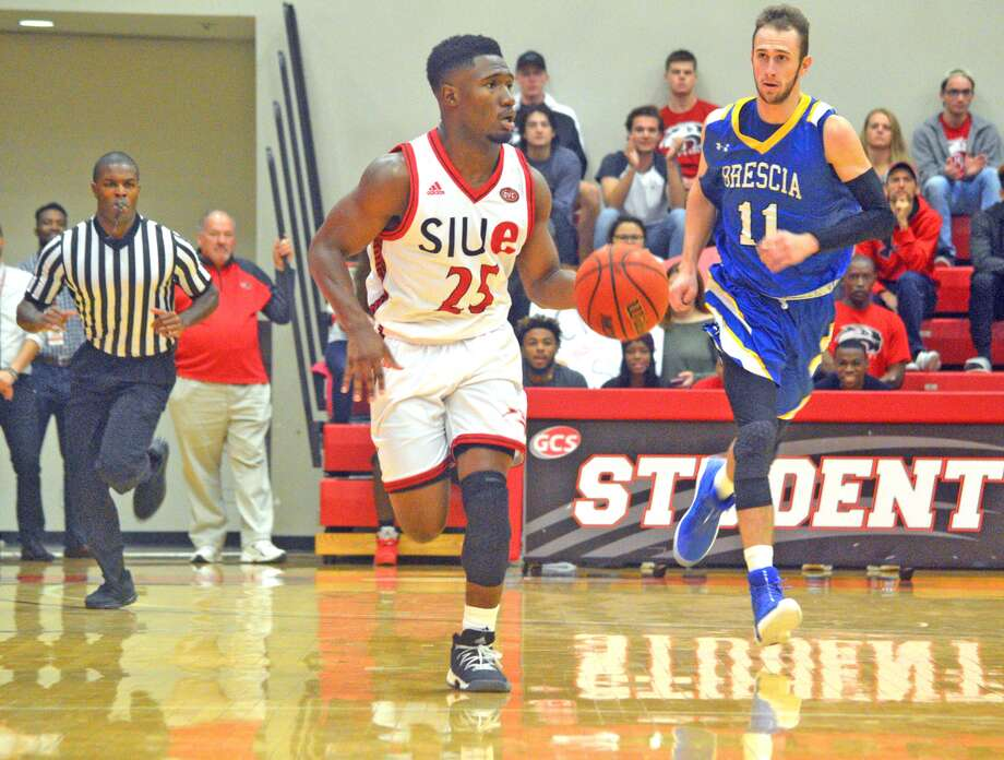 SIUE junior guard Jaylen McCoy brings the ball down the court during an exhibition game against Brescia College.