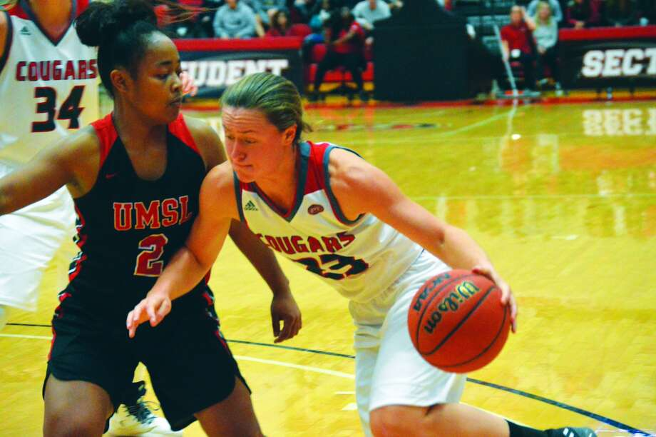 SIUE freshman Allie Troeckler, right, drives to the basket.