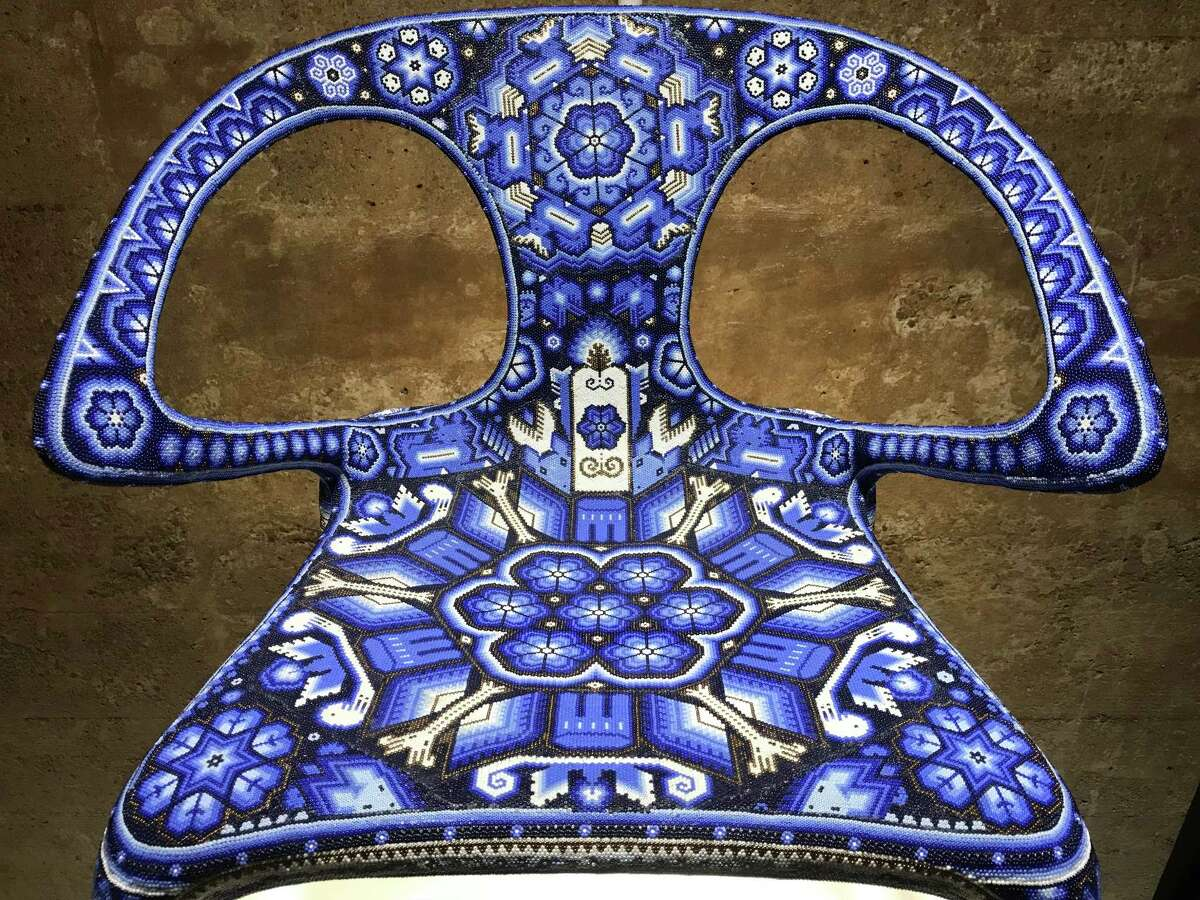 Chairs upholstered in indigenous textiles by Mexican craftsmen are on view Nov. 8 at the Buffalo Bayou Cistern.