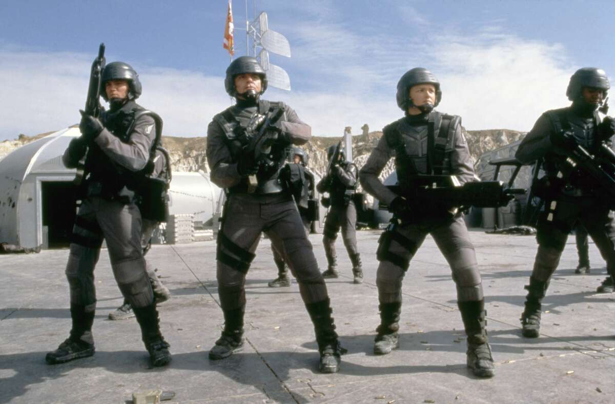 Starship Troopers, based on the book by Robert A. Heinlein, and directed by Paul Verhoeven.