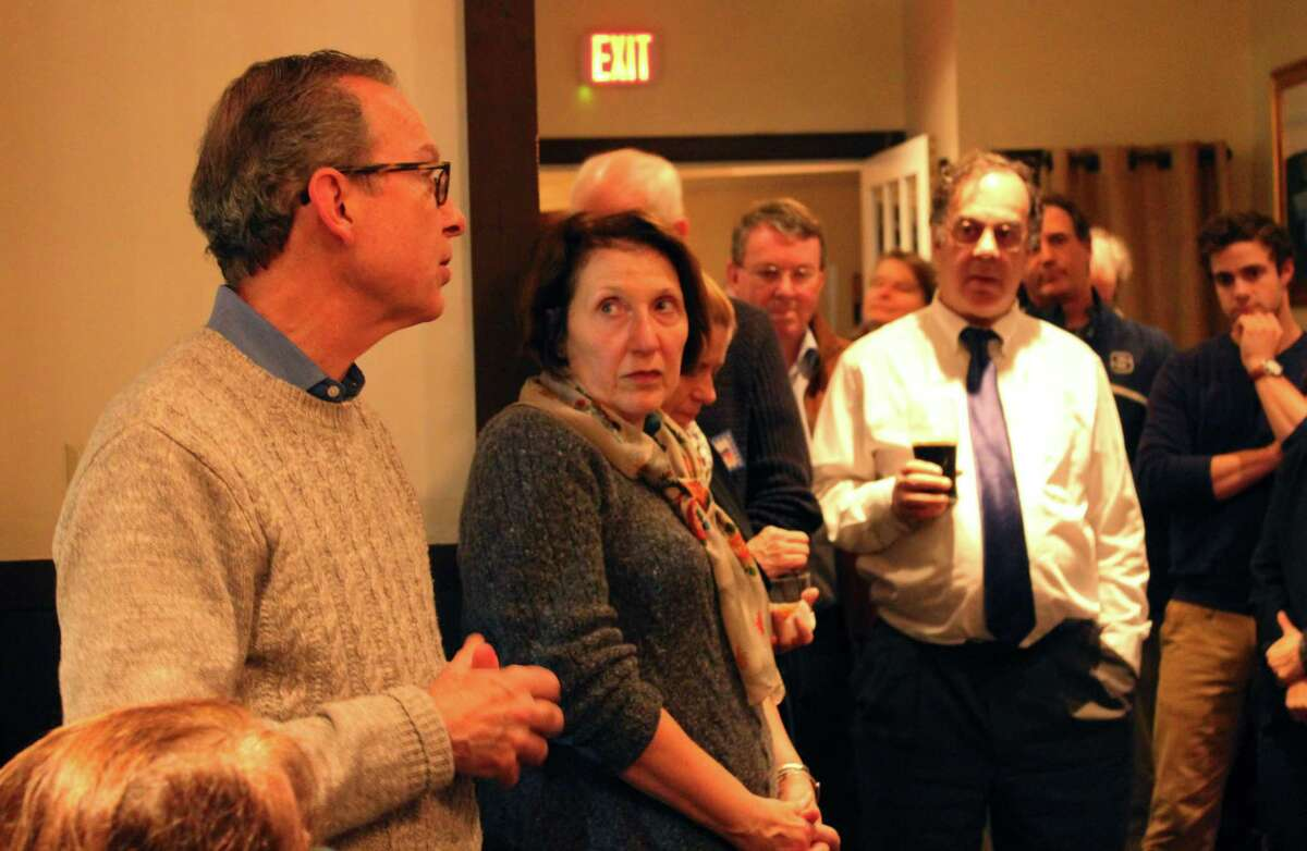 Democrat Tom Gunther, who was elected to the Zoning Board of Appeals in an uncontested race, speaks Tuesday night at the Democrats' gathering on Nov. 7, 2017.