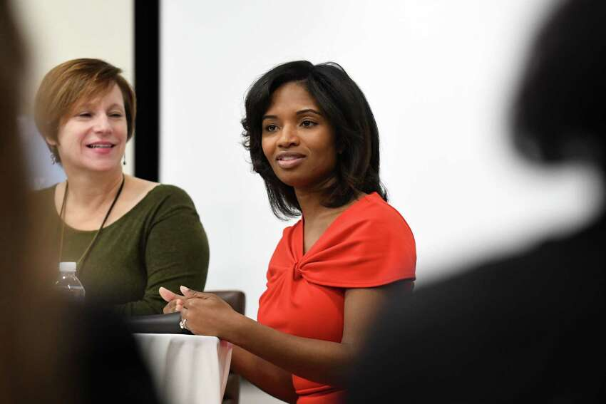 Susan Mehalick, left, executive editor of Women@Work, interviews Nathaalie Carey, right, deputy commissioner for administration and chief financial officer of the New York State Department of Labor, during a Women@Work Straight Talk breakfast on Wednesday, Nov. 8, 2017, at the Hearst Media Center in Colonie, N.Y. (Will Waldron/Times Union)