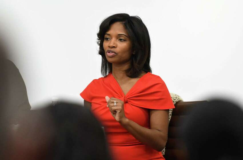 Nathaalie Carey, deputy commissioner for administration and chief financial officer of the New York State Department of Labor, speaks during a Women@Work Straight Talk breakfast on Wednesday, Nov. 8, 2017, at the Hearst Media Center in Colonie, N.Y. (Will Waldron/Times Union)