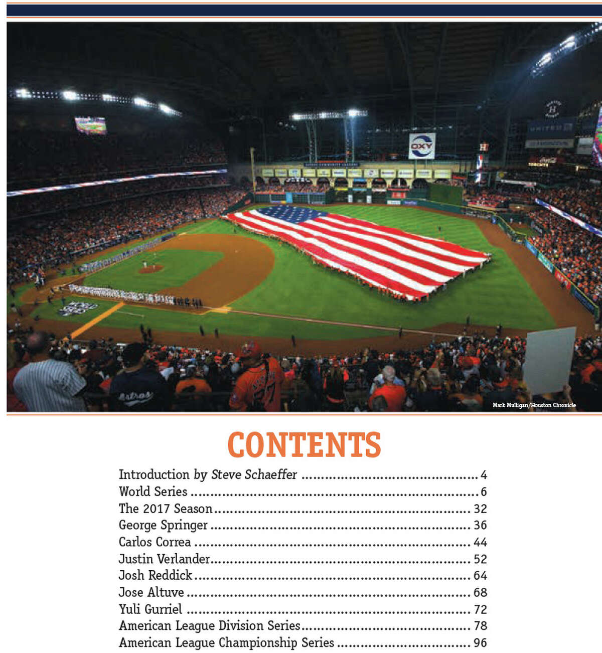 TABLE OF CONTENTS: For the baseball fan looking to remember the Houston Astros' World Series season with the ultimate keepsake, the Houston Chronicle has debuted its latest book,