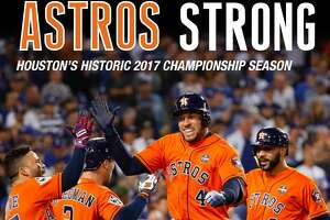 "FRONT COVER:  For the baseball fan looking to remember the Houston Astros' World Series season with the ultimate keepsake, the Houston Chronicle has debuted its latest book, ""Astros Strong.""   (Buy It Here.)"