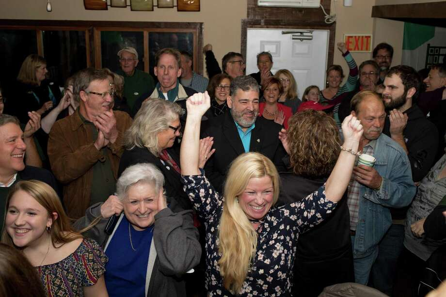 Pete Bass, the Republican mayoral candidate at the Candlewood Valley Country Club on election night. Photo: Trish Haldin / The News-Times Freelance