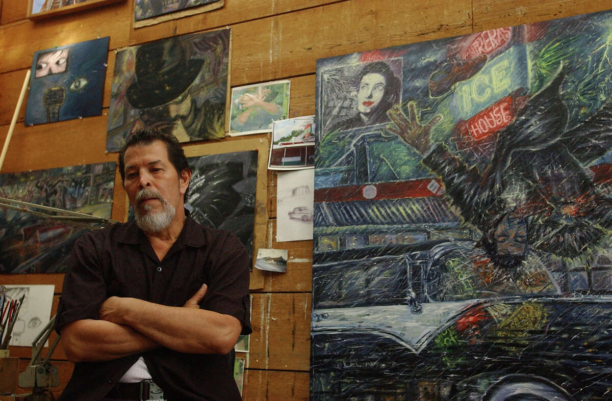 CONEXION: Adan Hernandez is a local artist who did the artwork shown in the movie. Photographed in his studio on Thursday August 30, 2007. Helen L. Montoya/Staff