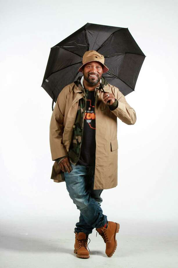 Bun B models high-end rain gear from the Webster. Photo: Gary Fountain, For The Chronicle / Copyright 2017 Gary Fountain