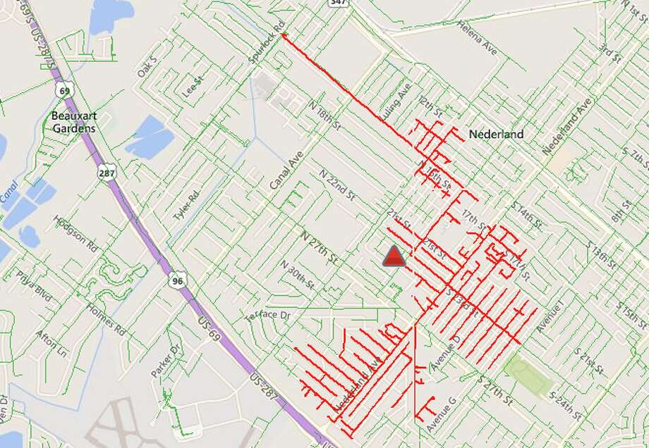 First reported at 11:55 a.m., over 1,700 customers are without power in Nederland. Photo:Entergy
