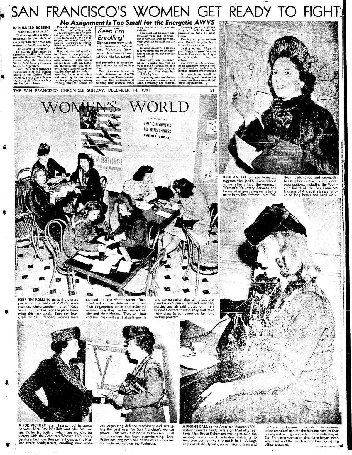 A December 14, 1941 Chronicle article on various women's organizations including the AWVS, American Women's Volunteer Services, preparing for war in the days after the Pearl Harbor attack