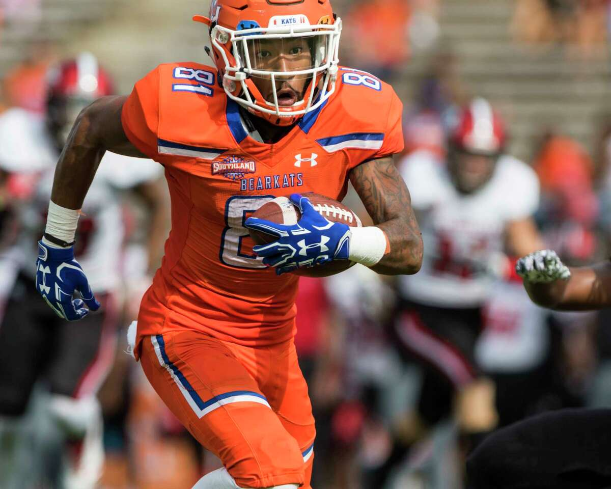 Sam Houston State's Nathan Stewart catches a pass in the middle of the field in the first half of an NCAA college football game Saturday, Nov. 4, 2017, in Huntsville, Texas. (AP Photo/Joe Buvid)