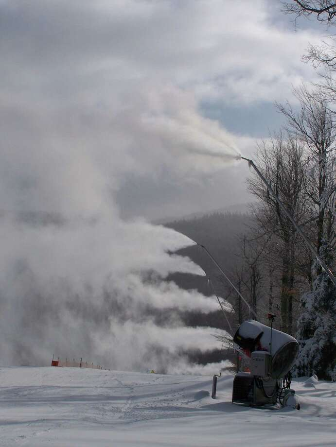 Snowguns were cranking away last winter at the Whiteface ski resort. Cold temperatures during the next several nights will let the guns run on slopes in New York and Vermont. Temperture in the Capital Region could dip into the single digits Friday night. (Photo courtesy of state Regional Olympic Development Authority)