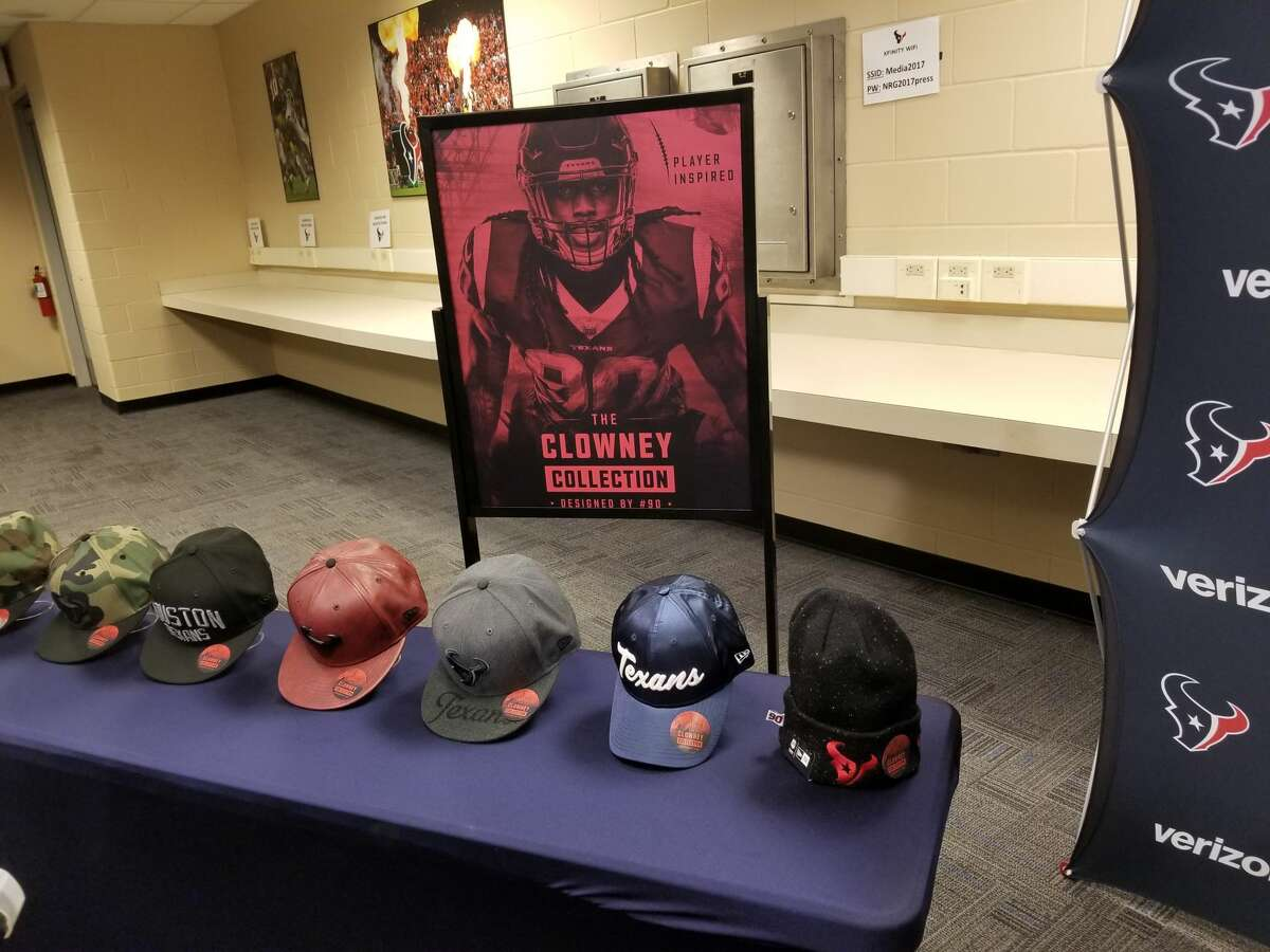 The Texans' Jadeveon Clowney has his own Texans hat line called the Clowney Collection. The hats were designed by Clowney and manufactured by New Era.